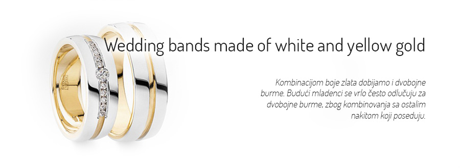 Wedding bands made of white and yellow gold