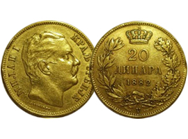 Golden coin of King Milan I Obrenovic – Serbia