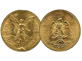 Mexican golden coin of 50 pesos (Centenario)
