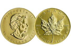 Canadian golden coin Maple Leaf