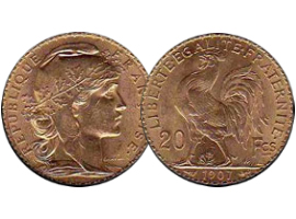 French gold coin Marianne - rooster