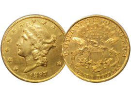 "Gold coin of 20 dollars ""Double Eagle"""