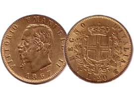 "Italian gold coin ""Marengo"" (Vittorio Emanuele and Umberto)"